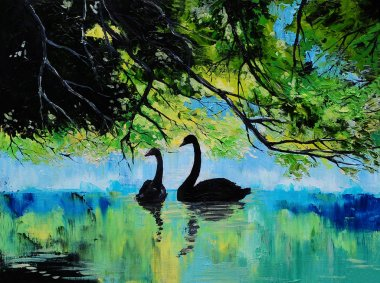 Oil painting of Swans on the lake