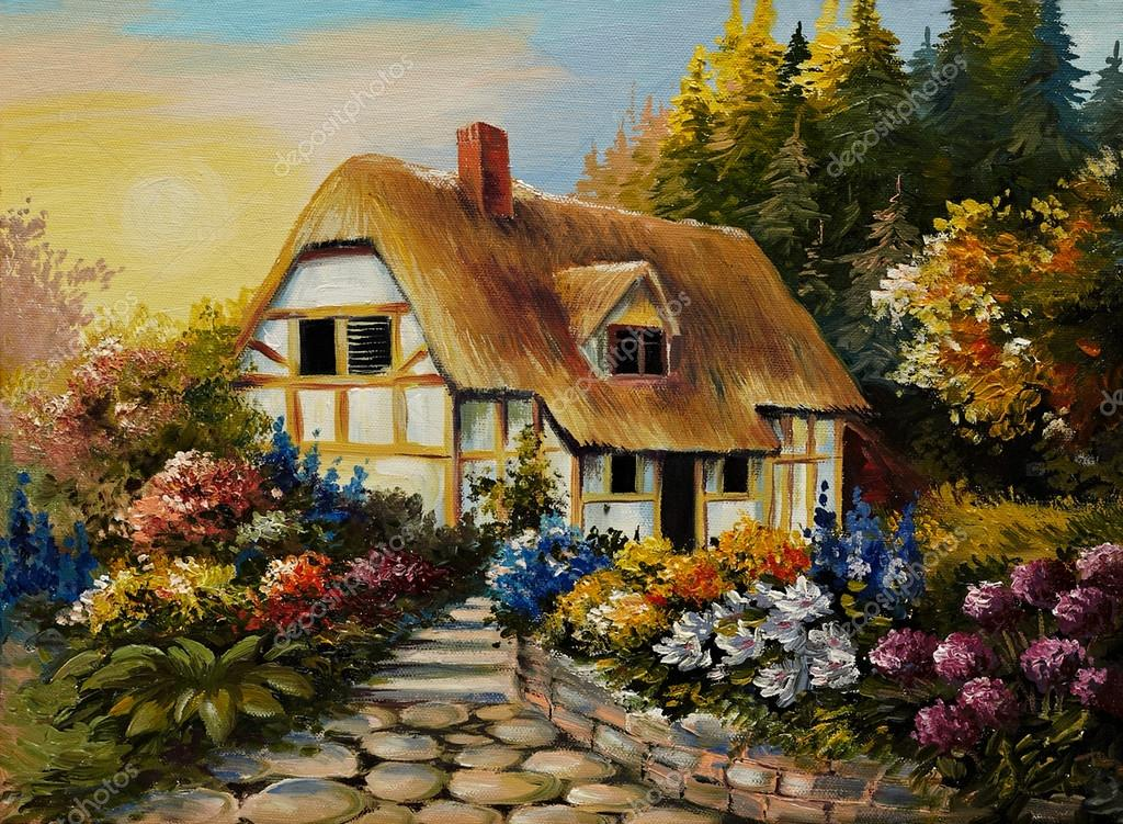 Oil painting of fairy house, art work