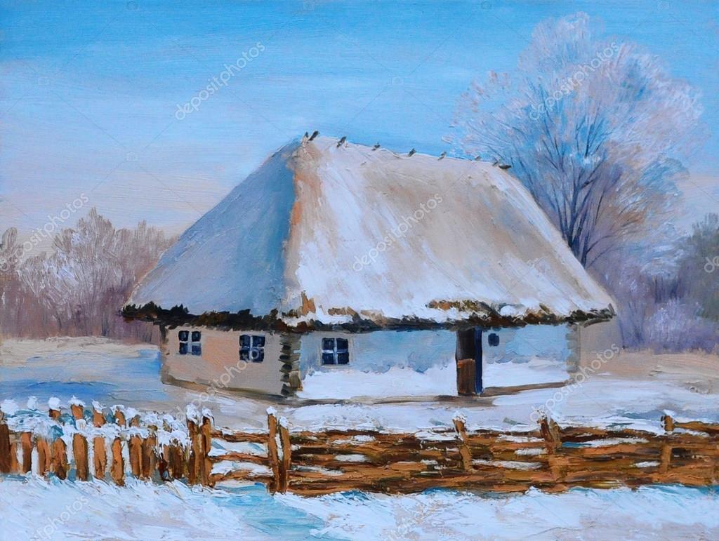 Peinture à Lhuile De La Maison Dhiver Oeuvre Dart Photographie