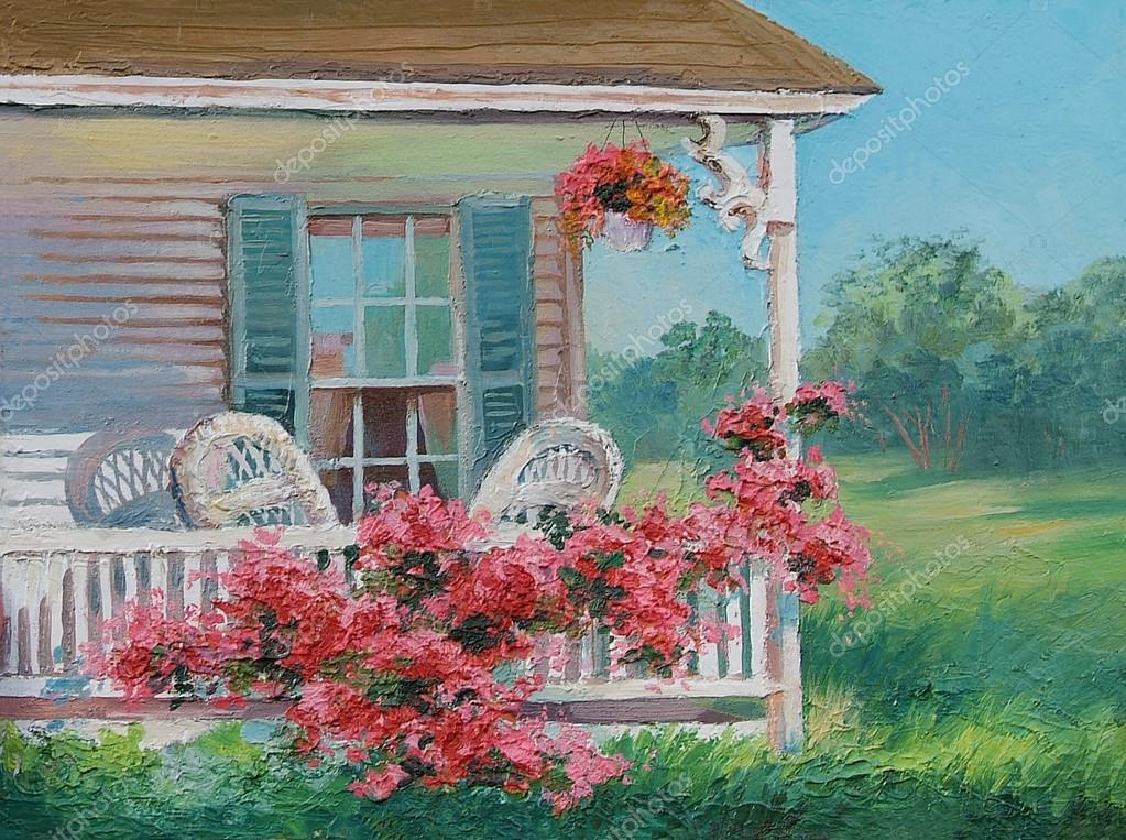 oil painting - house with patio, art work