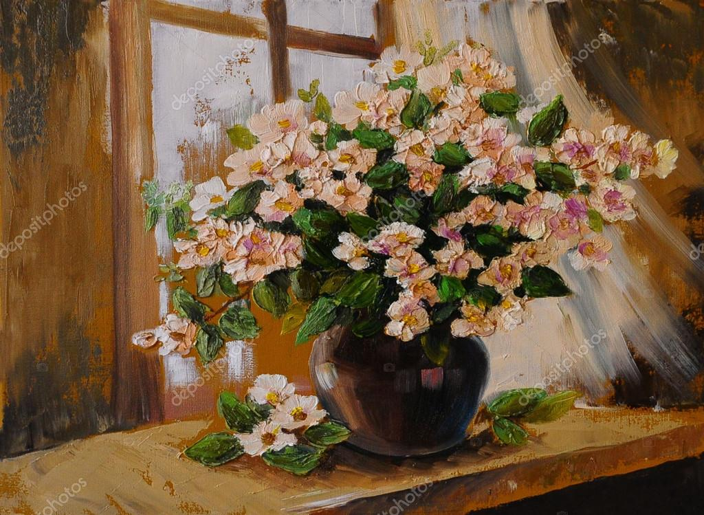 Oil painting on canvas - still life flowers on the table, art wo