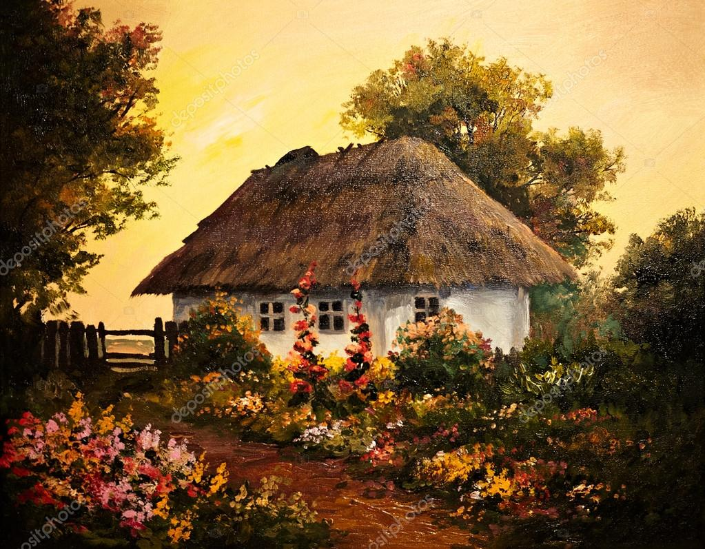 oil painting - house in the village, art work