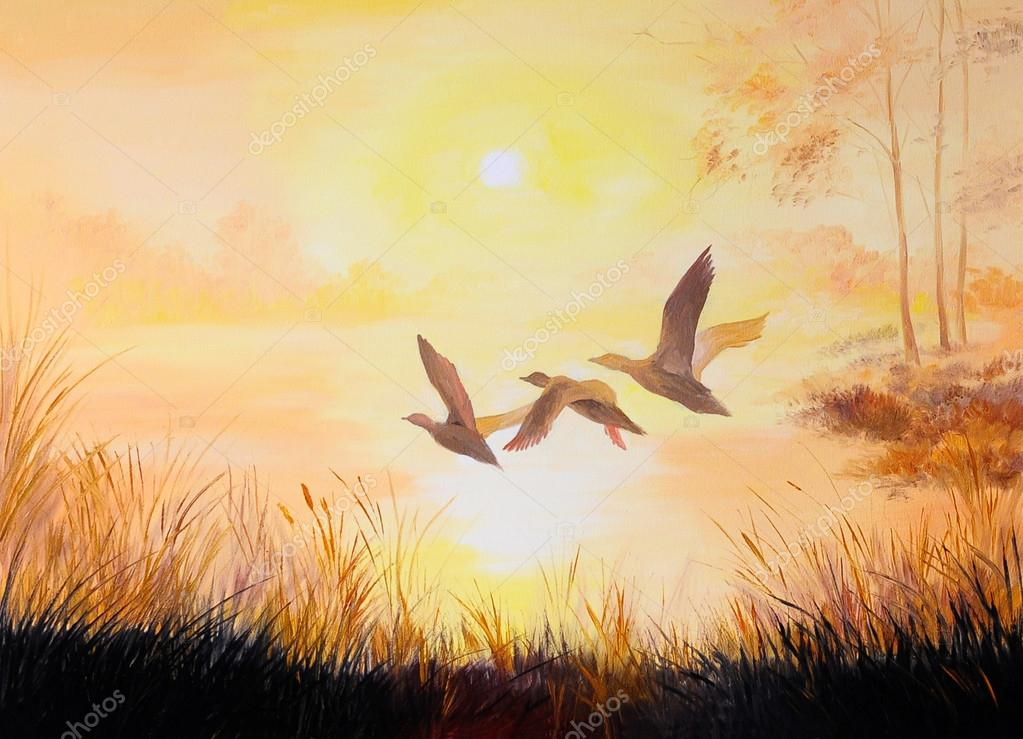 oil painting-Cranes at sunset, art work