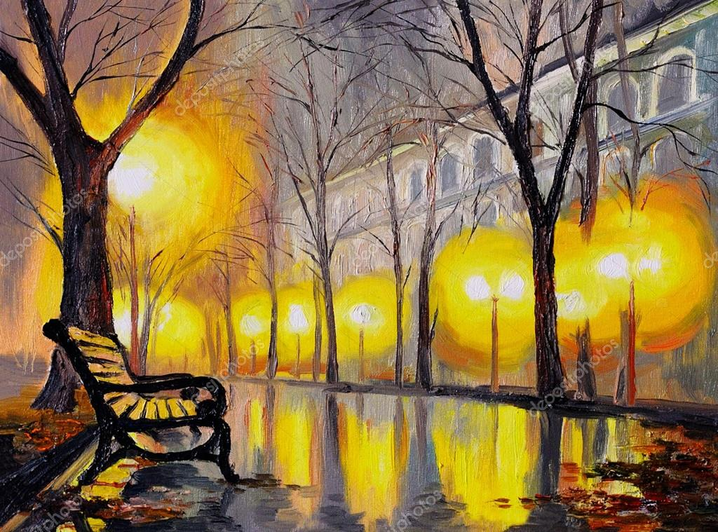Oil painting of autumn street, art work