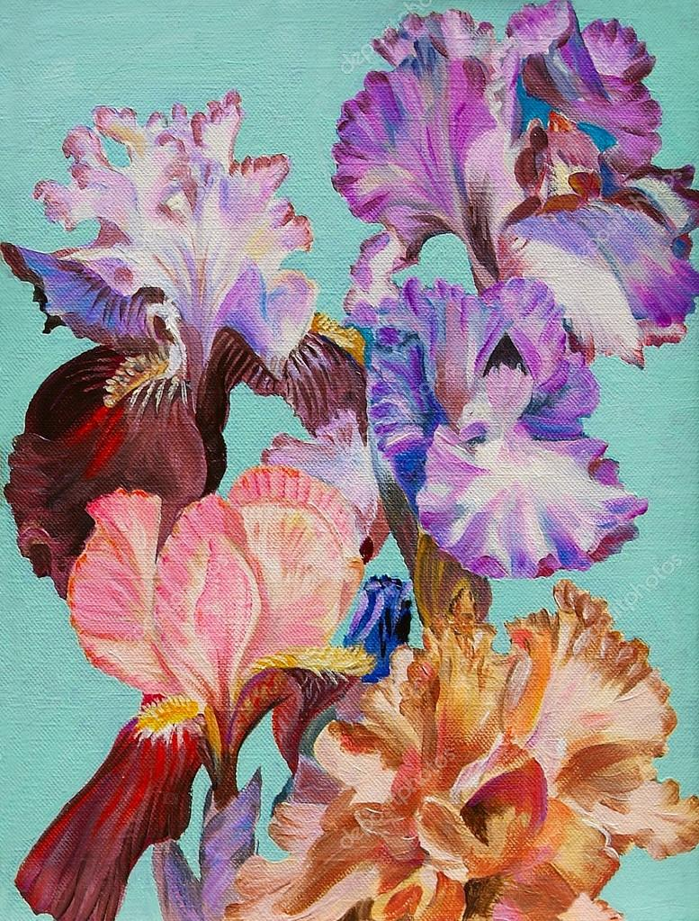 Oil painting watercolor flowers iris colorful art stock photo oil painting watercolor flowers iris colorful art stock photo izmirmasajfo