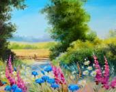 Olejomalba - pole s květinami a lesní abstraktní kresba