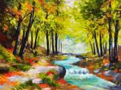 Krajina olejomalba - řeka v podzimním lese