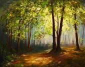 Olejomalba krajina - letní forest, barvitý abstraktní umění