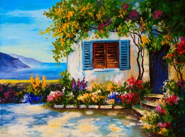 Oil painting on canvas of a beautiful houses near the sea, abstr