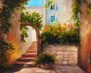 oil painting - summer street with blooming flowers. Colorful abs