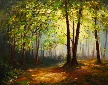 Oil Painting landscape - summer forest, colorful abstract art