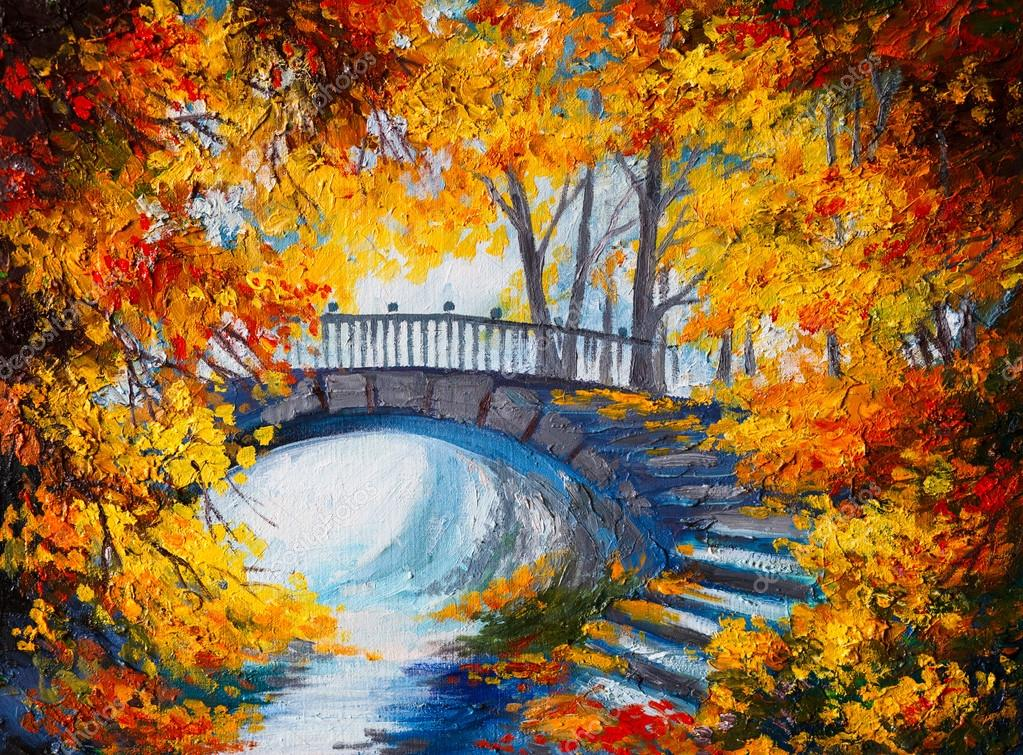 Oil Painting - autumn forest with a road and bridge over the roa