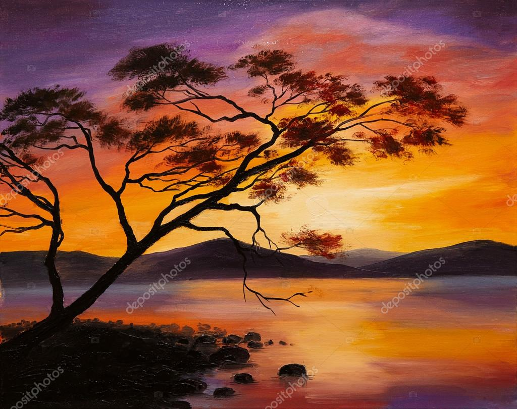 Oil Painting - sunset on the lake, abstract art