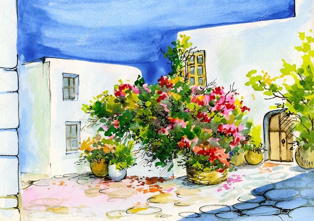 Aquarel schilderij van een boeket van bloemen in potten op de wind