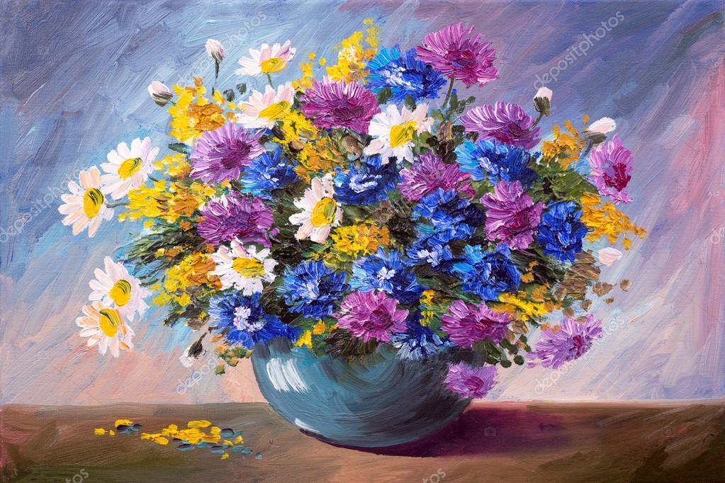 dipinto ad olio - bouquet di fiori di campo — Foto Stock © Max5799 ...
