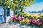 olejomalba krajina - zahrady u domu, barevné květy, v létě Les