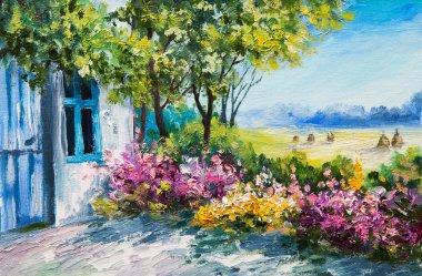 """Картина, постер, плакат, фотообои """"пейзаж живописи маслом - сад рядом с домом, красочные цветы, летний лес """", артикул 81791744"""