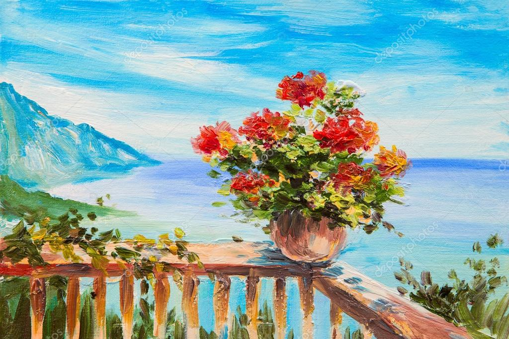 Oil painting landscape bouquet of flowers