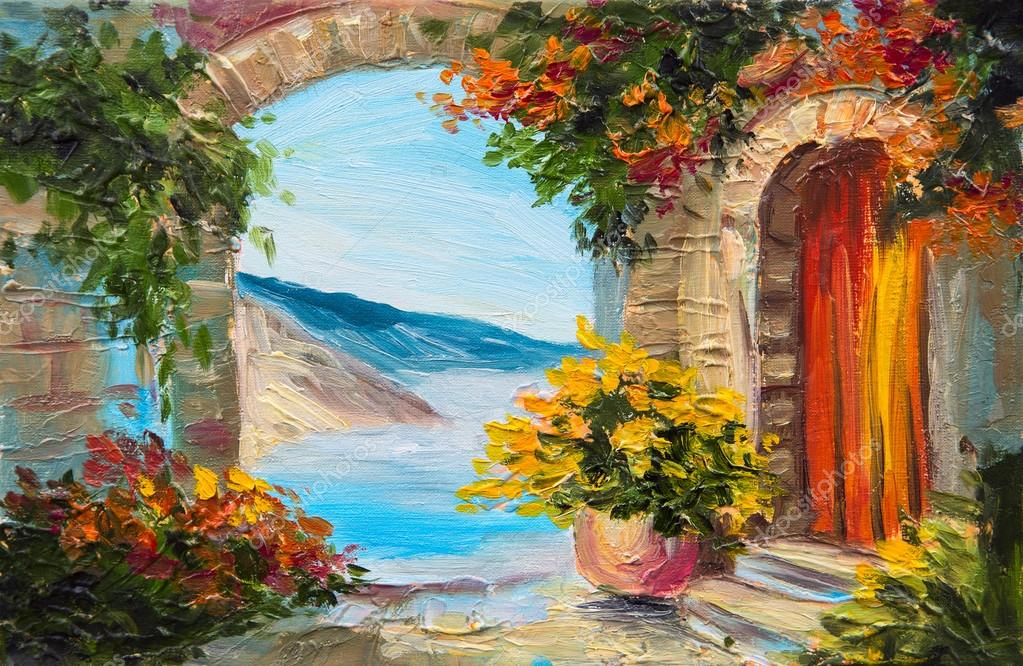 Oil painting house near the sea colorful flowers for Oil paintings for the home