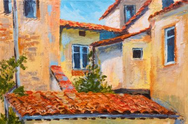 colorful oil painting - roofs of houses, European street, art  impressionism