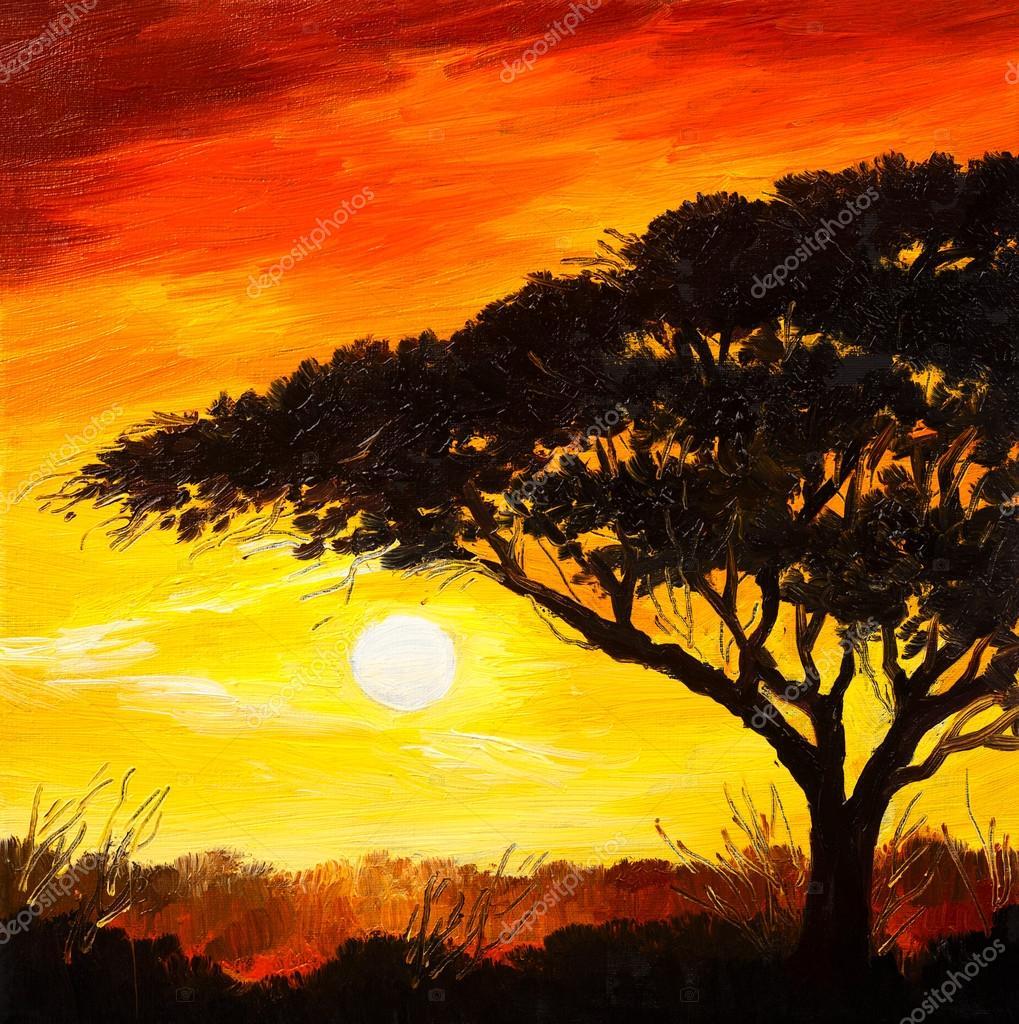 Paisaje pintura al leo puesta de sol en el bosque for Papel pintado paisajes