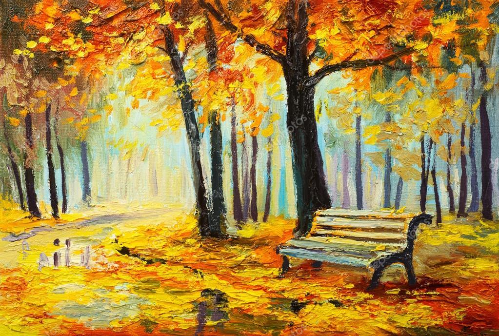 Paesaggio Dipinto Ad Olio Foresta Dautunno Colorato Foto Stock