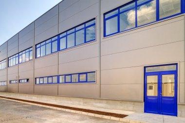 Blue aluminum facade