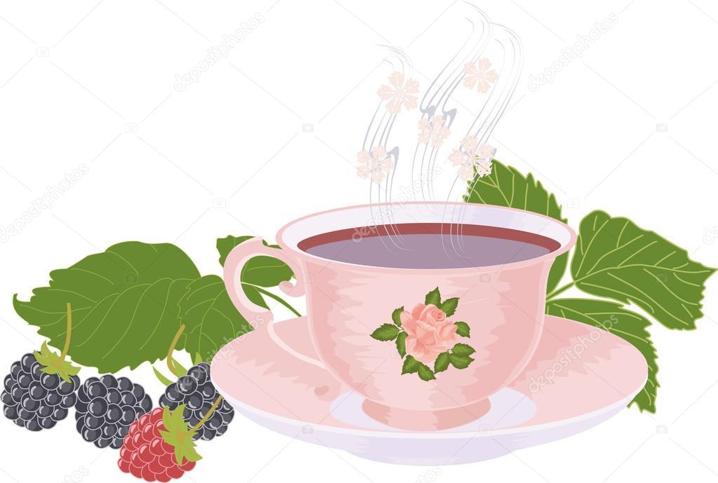 Pink Cup of tea and raspberries and blackberries.