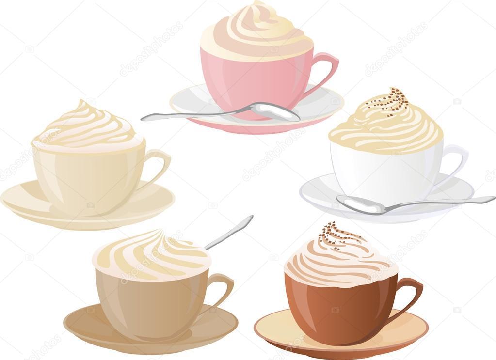Vector Conjunto De Tazas De Café Con Nata