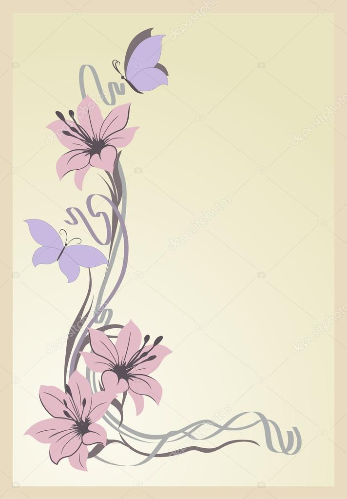 Three pink lilies and butterflies on a pale pink background.