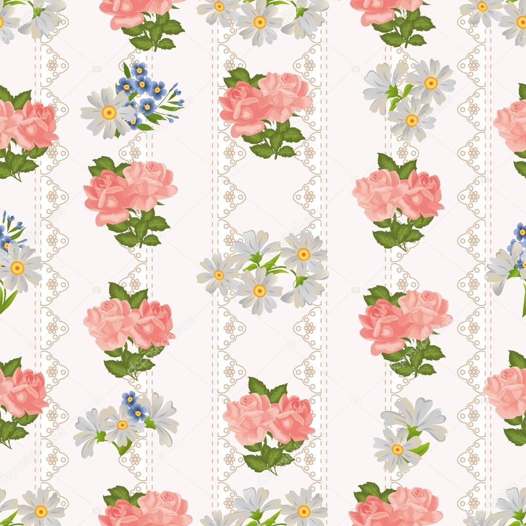 Repeating Pattern With Flowers On A Background Of Rustic Lace Stock Vector