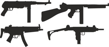 set of silhouettes of modern weapons.