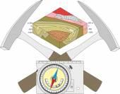 Fotografie geologischer Kompass, geologischer Hammer und Blockdiagramm.