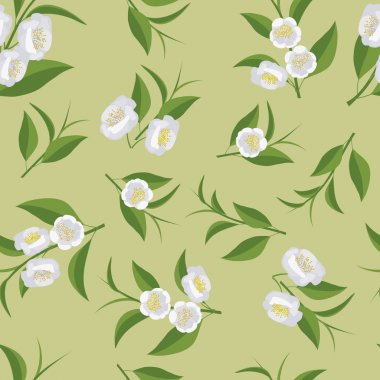 Seamless texture with leaves and flowers of tea. Camellia flowers.