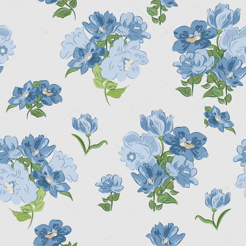 Textura Sin Fisuras Con Flores Azules Vector De Stock C Alenagonik