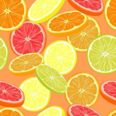 Seamless pattern of different citrus fruits. Orange, grapefruit, lemon, lime. clip art vector