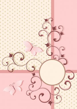 Background in pink colors with vintage pattern and butterfly.