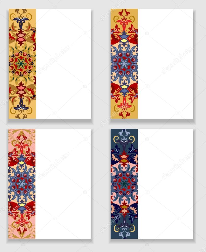 Cards with traditional ornamental elements in Oriental style.