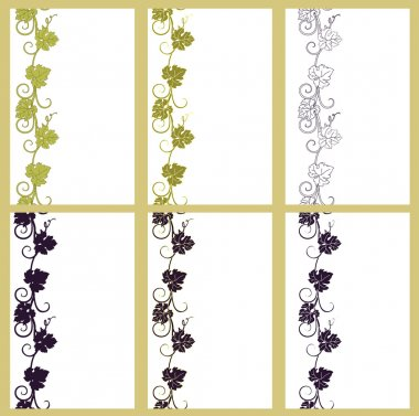 Set of vector seamless patterns backgrounds with vines.