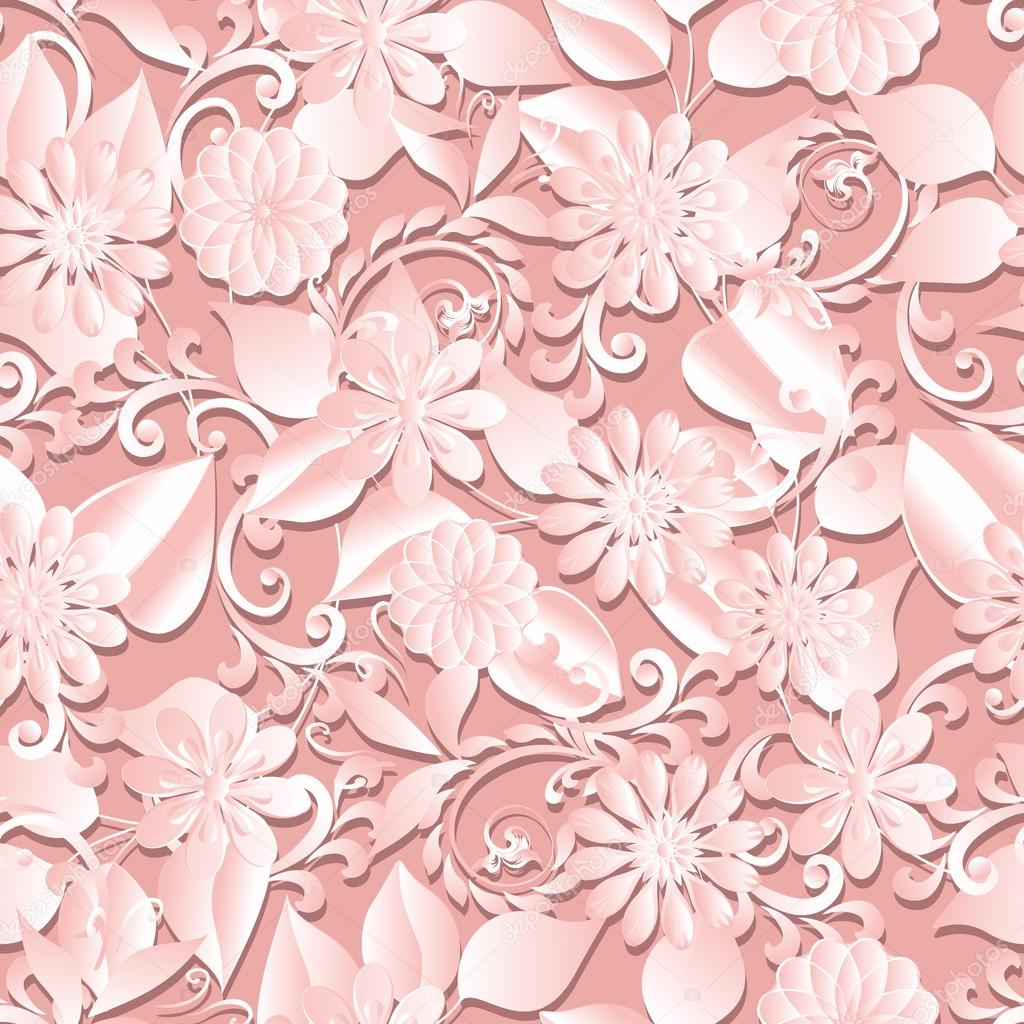 Paper Cut Out Seamless Floral Pattern Stock Vector Alenagonik