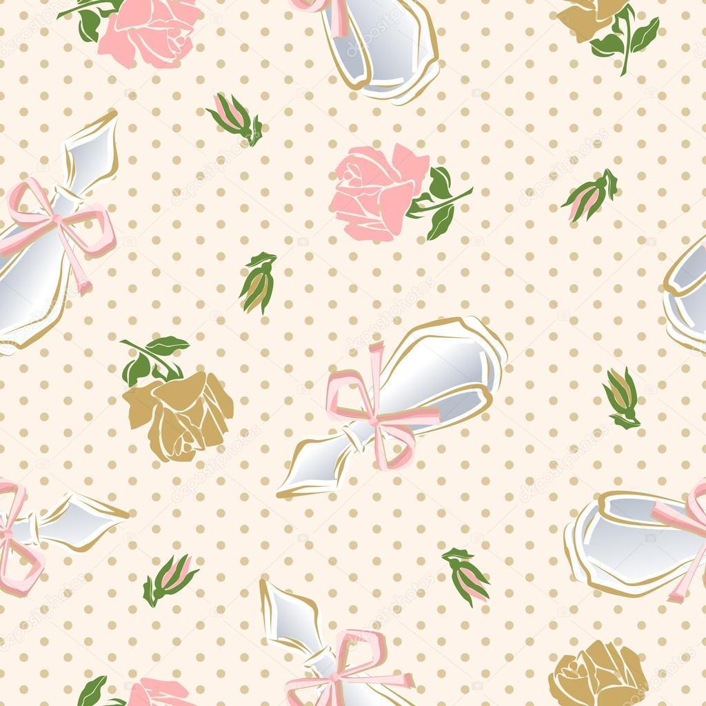 Seamless pattern with perfume bottles and roses.