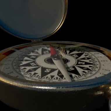 Brass compass Extreme close up 3D render