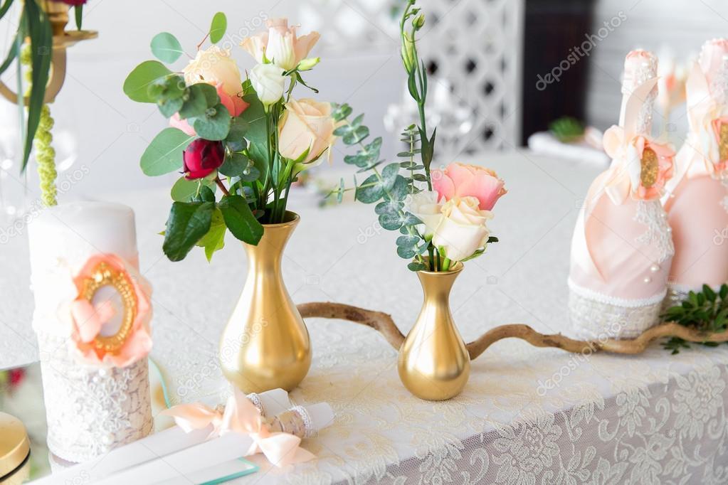 Floral Anordnung Der Hochzeitsfeier Die Braut Schmucken Und