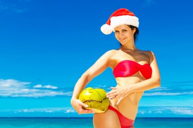 Young beautiful woman with long black hair in red bikini, and re