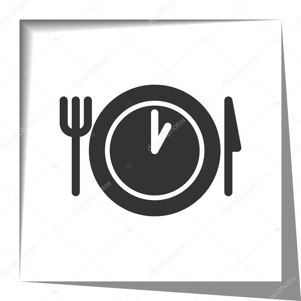 Lunch Time Icon With Cut Out Shadow Effect Stock Vector
