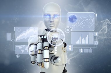 Robot is working with touchscreen stock vector