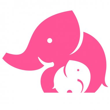 Elephant mom and child. Symbol or logo