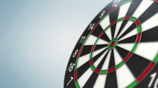 Dart arrow in bulls-eye