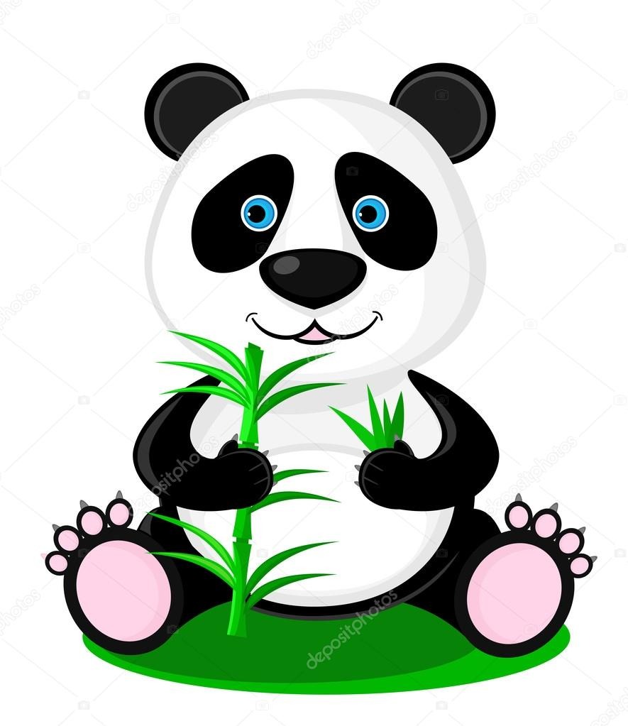 fofo urso panda com bambu em suas patas vetor de stock panda bear clip art free panda bear clip art images