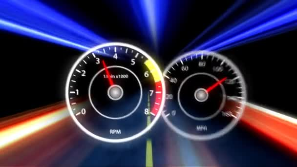Dashboard of a sports car in motion